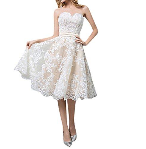 Charmant kurzes Hochzeitskleid 2016 Neu Elfenbein Spitze A-linie