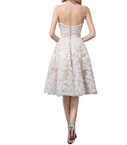 Charmant Damen 2016 Neu Elfenbein Spitze Hochzeitskleider Brautkleider Abendkleider Ballkleider A-linie Knie-lang Kurz -38 Elfenbein -