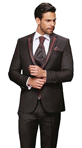 Designer Hochzeitsanzug 8-teilig Schwarz Bordeaux/Grau  TOP ANGEBOT NEU PC_17 (54)