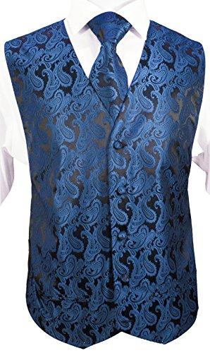 Festliches Westenset 3tlg blau schwarz paisley Hochzeitsweste Paul Malone Gr. 56