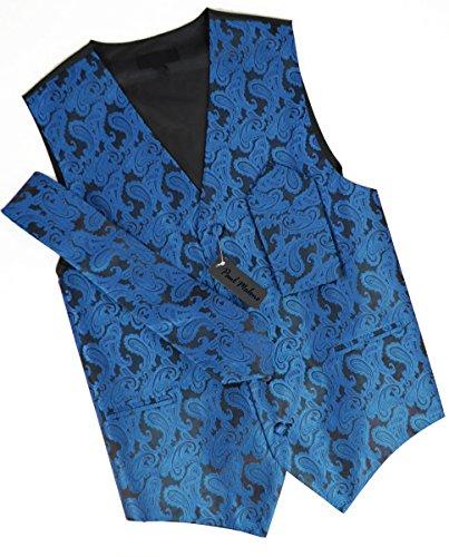 Festliches Westenset 3tlg blau schwarz paisley Hochzeitsweste Paul Malone Gr. 56 -