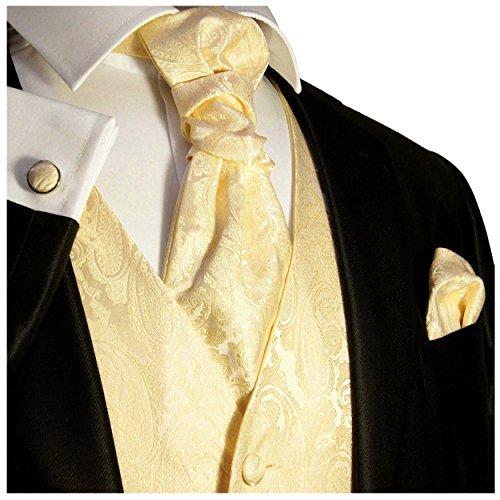 Paul Malone Hochzeitsweste Set 5tlg champagner paisley Gr.52 -