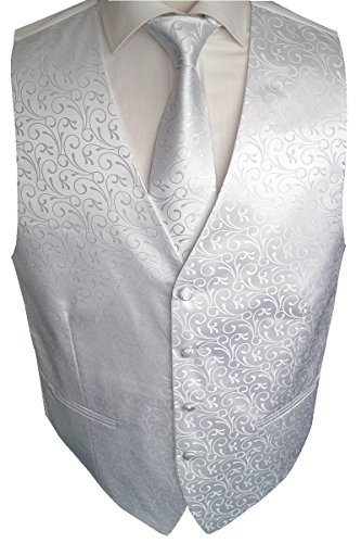 Beytnur Hochzeitsweste mit Plastron, Einstecktuch u. Krawatte Nr. 30.1, Größe 54 -