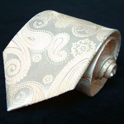 LORENZO CANA Marken Set Krawatte 100% Seide mit Einstecktuch - Hochzeitskrawatte Ivory Elfenbein Hochzeit Trauung 84310 -
