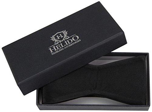 HELIDO Elegante Seiden-Fliege zum selber-binden für Herren, verstellbar + Geschenkbox - perfekt zu Anzug und Hemd (Schwarz) -