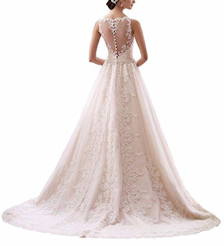 Ever Love Damen Abendkleider Elegant Abschlussballkleider Bandeau Kleid Hochzeitskleid mit Stickerei Brautkleid Ivory36 -