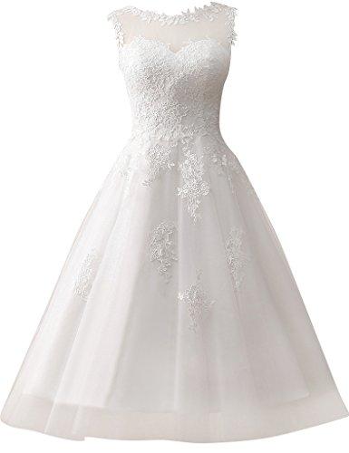 JAEDEN Kurze Tüll Hochzeitskleider mit Spitze, Rundkragen, Elfenbein