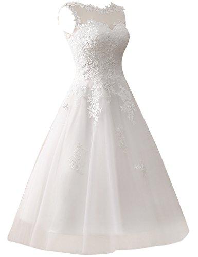 JAEDEN Damen Kurze Tuell Hochzeitskleider Spitze Rundkragen Formales Brautkleid Elfenbein EUR46 -