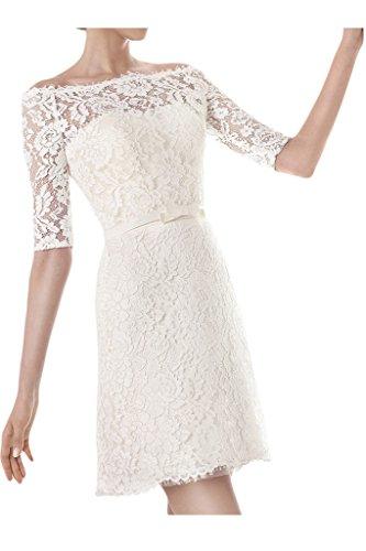 Ivydressing Brautkleid, U-Ausschnitt, Halb-Ärmel
