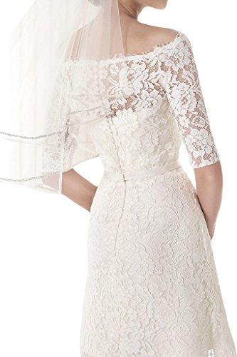 Ivydressing Damen U-Ausschnitt Halb-Aermel Kurz Abendkleid Brautkleid Hochzeitskleid-36-Elfenbein -