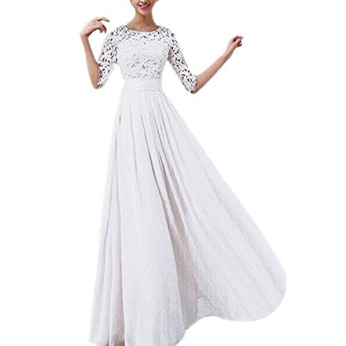 Chiffon Spitze Brautkleid Ballkleid Abendkleid Hochzeitskleid Weiss XXL