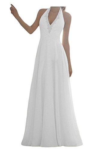 JAEDEN Damen Neckholder Chiffon Lang A-Linie Brautkleider Hochzeitskleider Weiß EUR46
