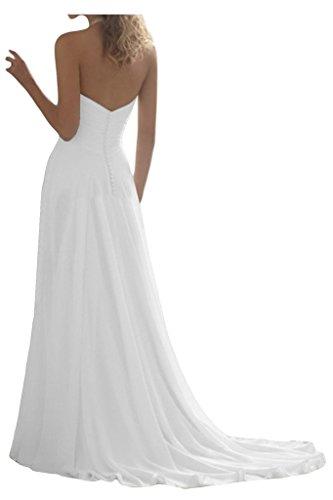 JAEDEN Damen Neckholder Chiffon Lang A-Linie Brautkleider Hochzeitskleider Wei? EUR46 -