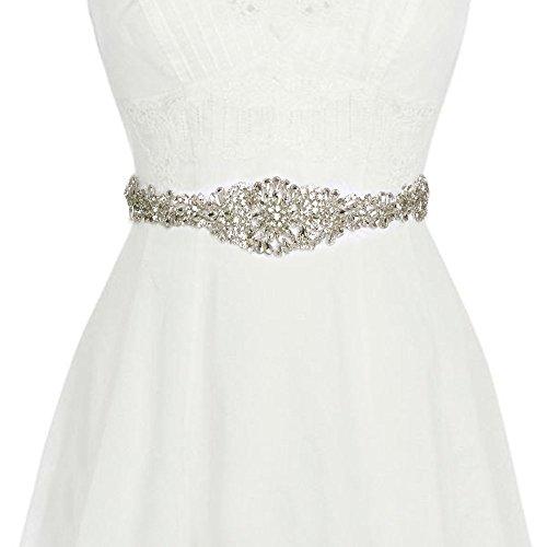 Vococal - Damen Glänzende Strass Satinband für Hochzeitskleid, Weiß