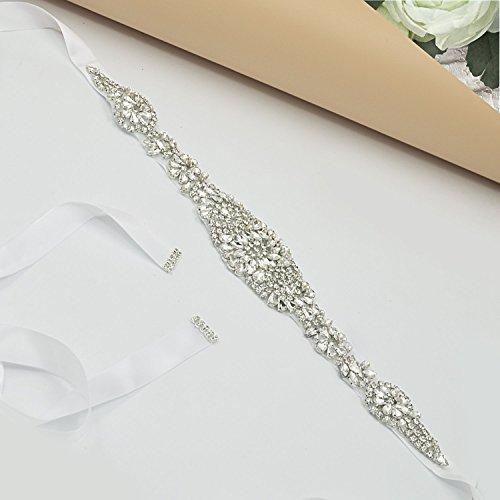 Vococal - Damen Glänzende Strass Satinband Schärpe Waist Belt Bund für Braut Hochzeitskleid, Weiß -