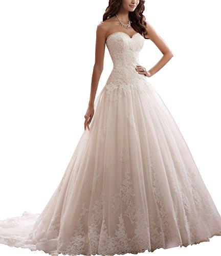 Ever Love Damen Hochzeitskleid mit Stickerei White 34