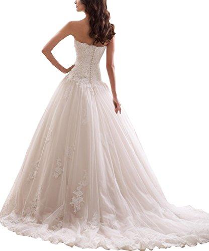 Ever Love Damen Abendkleider Elegant Abschlussballkleider Bandeau Kleid Hochzeitskleid mit Stickerei Brautkleid White 34 -