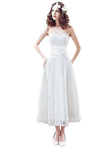 KekeHouse®Hochzeitskleid mit Herzausschnitt, Bandeau, Spitze, Blumen, A-Linie, Weiß 38