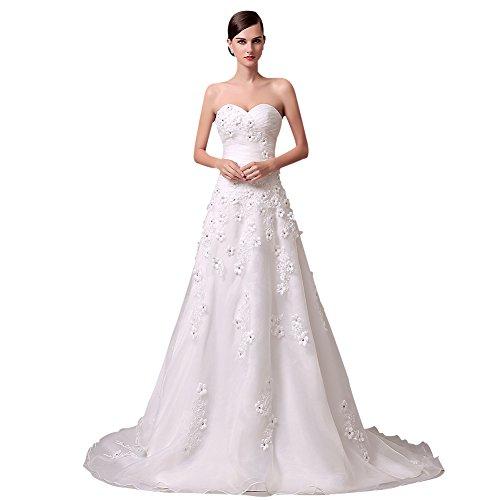 KekeHouse® bodenlanges elegantes Hochzeitskleid mit Schmuckblumen und Taillenband, Elfenbein, 36