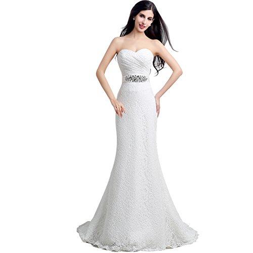 KekeHouse® Hochzeitskleid Bodenlang Herzausschnitt Bandeau Geblümt Spitze mit Kristall Weiß 38