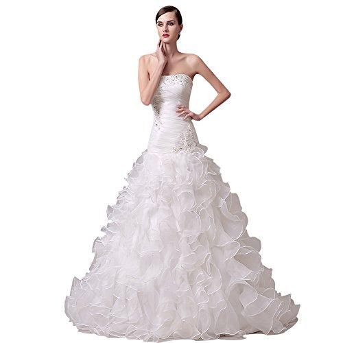 KekeHouse® Elegantes Hochzeitskleid mit Tailenband und Herzausschnitt, Elfenbein