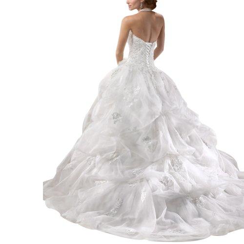 GEORGE BRIDE Duchesse Herz-Ausschnitt Taff Kapelle-Schleppe Brautkleid, Groesse 40, Elfenbein -
