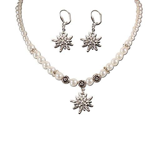 Trachtenset Perlenkette & Edelweissohrhänger (cremeweiß)