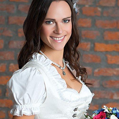 Trachtenschmuck Trachtenset Perlenkette & Edelweissohrhänger (cremeweiß) * Damen Dirndlkette, Perlenkette Oktoberfest - 2