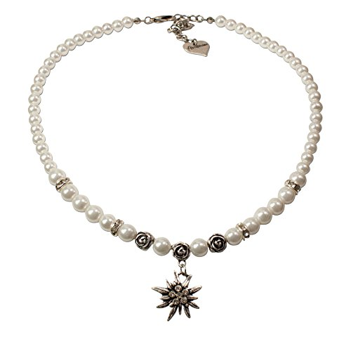 Trachtenschmuck Trachtenset Perlenkette & Edelweissohrhänger (cremeweiß) * Damen Dirndlkette, Perlenkette Oktoberfest - 3