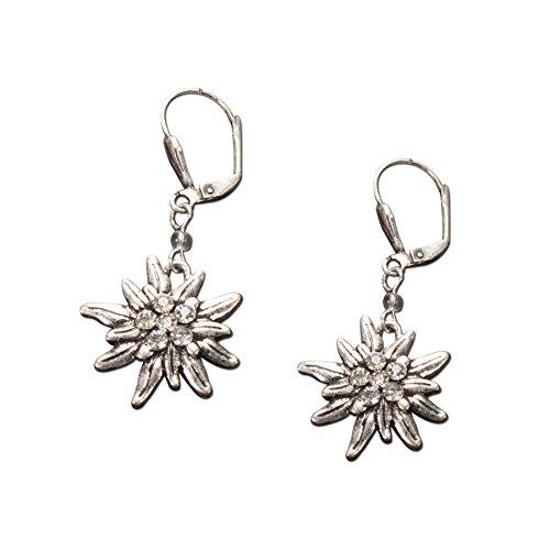 Trachtenschmuck Trachtenset Perlenkette & Edelweissohrhänger (cremeweiß) * Damen Dirndlkette, Perlenkette Oktoberfest - 4