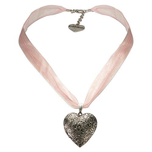 Alpenflüstern Organza-Trachtenkette Amulett-Herz rosa
