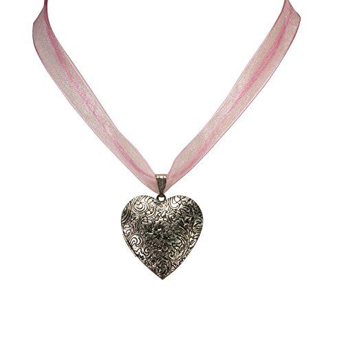 Alpenflüstern Organza-Trachtenkette Amulett-Herz Trachtenherz - Damen-Trachtenschmuck Dirndlkette rosa DHK080 - 3