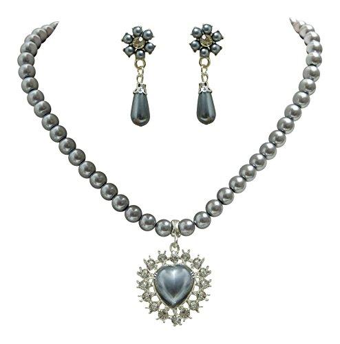 Dirndl Collier Perlen Set Herz mit Kristallen - Grau