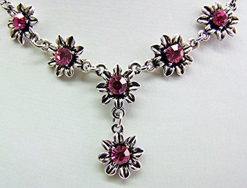 Blumen Collier mit Ohrhängern Pink - Zauberhafte Schmuck Sets bestehend aus Halskette und Ohrringen - 2