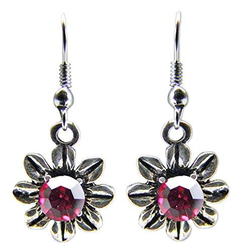 Blumen Collier mit Ohrhängern Pink - Zauberhafte Schmuck Sets bestehend aus Halskette und Ohrringen - 3