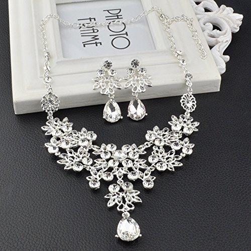 S&E Luxus Diamond Strass Statement Kette & Ohrringe Set Hochzeit Brautschmuck Elegant Dirndl Schmuck (Silber) (Luxus) - 2