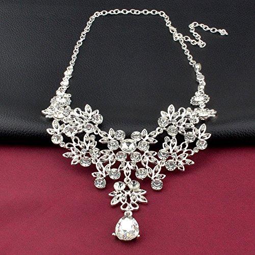 S&E Luxus Diamond Strass Statement Kette & Ohrringe Set Hochzeit Brautschmuck Elegant Dirndl Schmuck (Silber) (Luxus) - 3