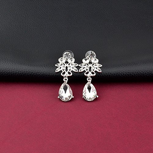 S&E Luxus Diamond Strass Statement Kette & Ohrringe Set Hochzeit Brautschmuck Elegant Dirndl Schmuck (Silber) (Luxus) - 4