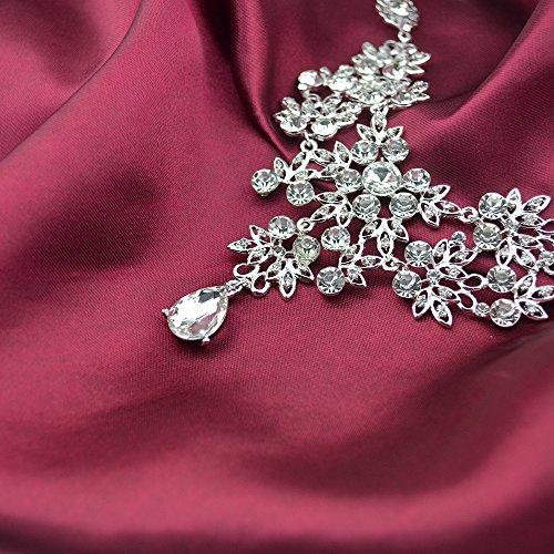 S&E Luxus Diamond Strass Statement Kette & Ohrringe Set Hochzeit Brautschmuck Elegant Dirndl Schmuck (Silber) (Luxus) - 5
