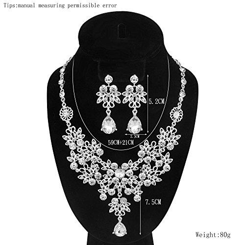 S&E Luxus Diamond Strass Statement Kette & Ohrringe Set Hochzeit Brautschmuck Elegant Dirndl Schmuck (Silber) (Luxus) - 6