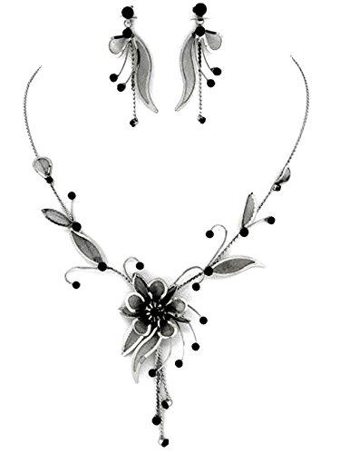 Schmuckanthony Trachten Dirndl Hochzeit Schmuckset Set Kette Ohrringe Blumen Blätter Netz Kristall Schwarz - 2