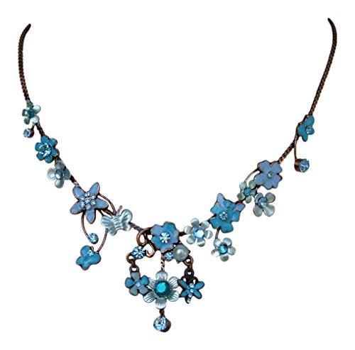 Dirndl Kristall Collier - Trachtenkette mit Blüten und Schmetterling (Blau / Türkis)