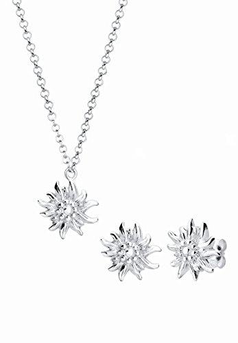 Elli Schmuckset Halskette + Ohrringe Edelweiss Wiesnschmuck 925 Silber