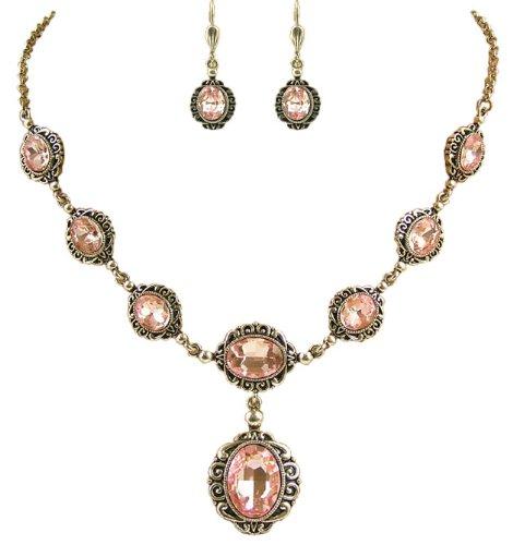 Elegantes Trachtenschmuck Dirndl Collier Set - bestehend aus Collier und Brisur Ohrringen - Light Rose