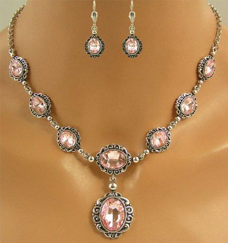 Elegantes Trachtenschmuck Dirndl Collier Set - bestehend aus Collier und Brisur Ohrringen - Light Rose Rosa - 2