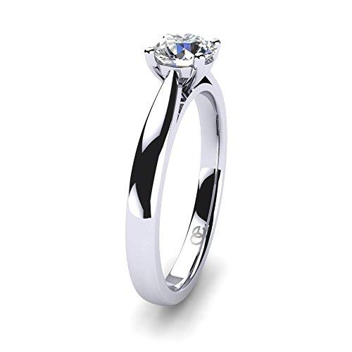 Moncoeur Ring Pour Toujours + Solitaire echtes 925 Silber Verlobungsring mit Zirkonia + SWAROVSKI + Hochzeitsring + Trauring + klassisches Design höchste Qualität für Damen Frauen Freundin (56 (17.8)) - 2