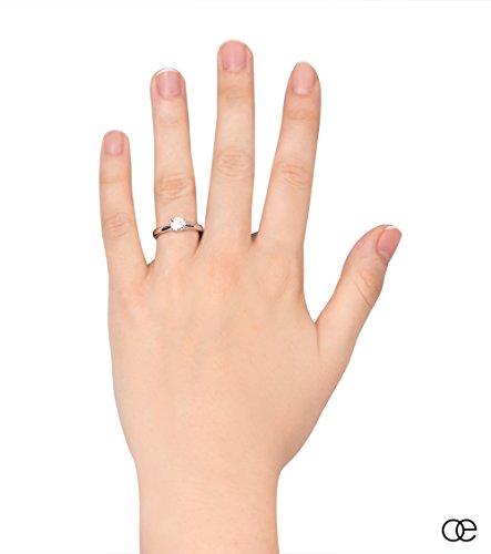 Moncoeur Ring Pour Toujours + Solitaire echtes 925 Silber Verlobungsring mit Zirkonia + SWAROVSKI + Hochzeitsring + Trauring + klassisches Design höchste Qualität für Damen Frauen Freundin (56 (17.8)) - 4