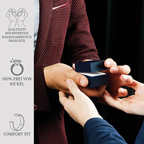 Moncoeur Ring Pour Toujours + Solitaire echtes 925 Silber Verlobungsring mit Zirkonia + SWAROVSKI + Hochzeitsring + Trauring + klassisches Design höchste Qualität für Damen Frauen Freundin (56 (17.8)) - 5