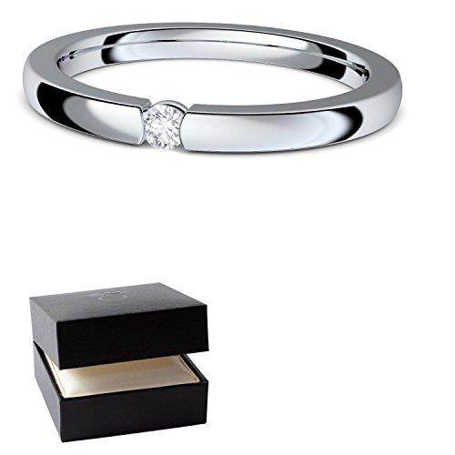 Verlobungsringe Silber 925 Spannring von AMOONIC mit SWAROVSKI Zirkonia