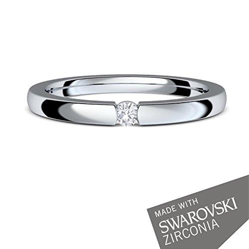 Verlobungsringe Silber 925 ❤️❤️❤️ Spannring von AMOONIC mit SWAROVSKI Zirkonia Stein Silber-Ring Damen-Ring wie Diamant-Ring Weißgold Solitär-Ring Heiratsantrag Antrag AM195SS925ZIFA-7 - 2